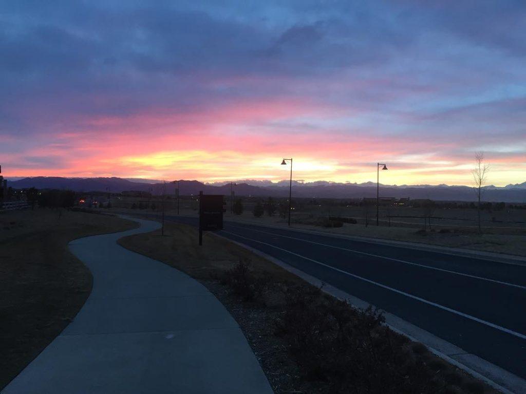 run, sunset, Colorado