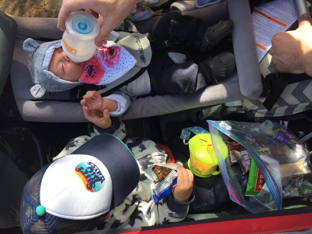 baby, bottle fed, double stroller